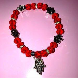 Hamsa good luck charm red beaded bracelet. NWOT